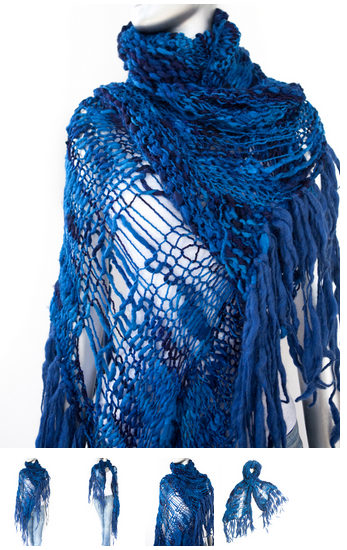cecilia de bucourt cdbstore hand knitted blue scarf