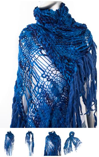 cecilia de bucourt cdbstore hand knitted blue scarf