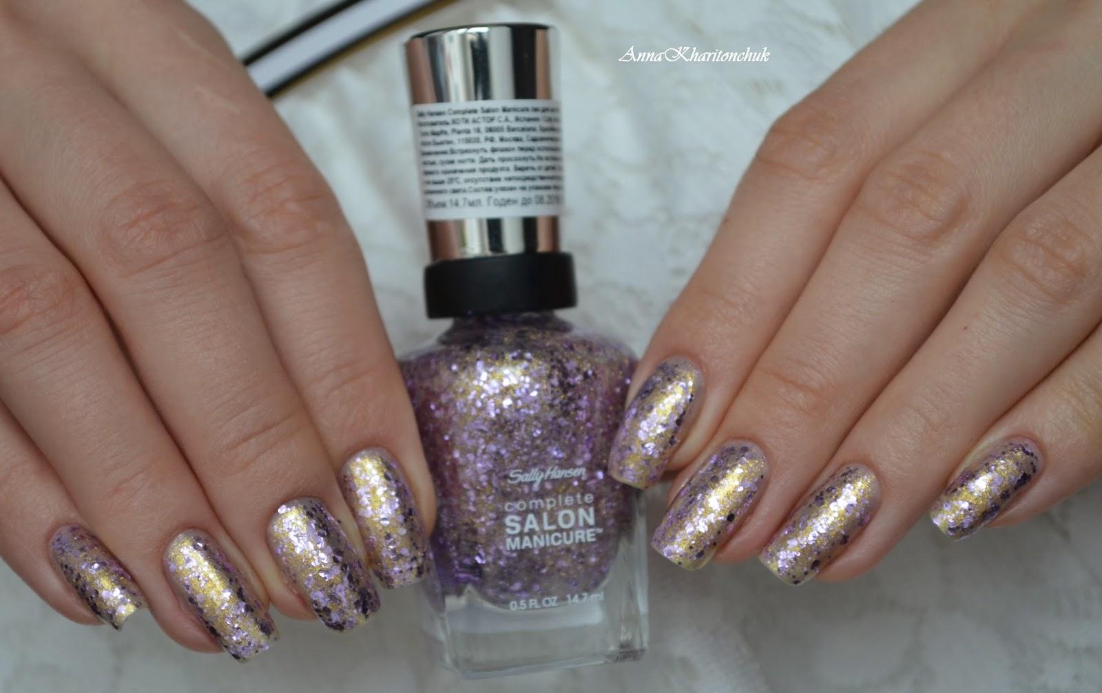 Winter11DNC. Новогодний маникюр. Sally Hansen Complete Salon Manicure #706 Glitter Bomb и Sally Hansen Insta-Dri Top Coat