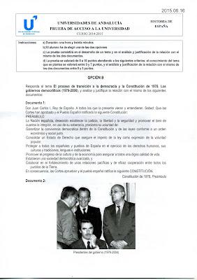 Examen de selectividad Historia de España de junio de 2015 (Andalucía) Opción B