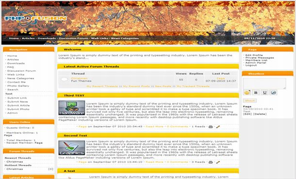 Free Brown Orange Nature Php-fusion Theme