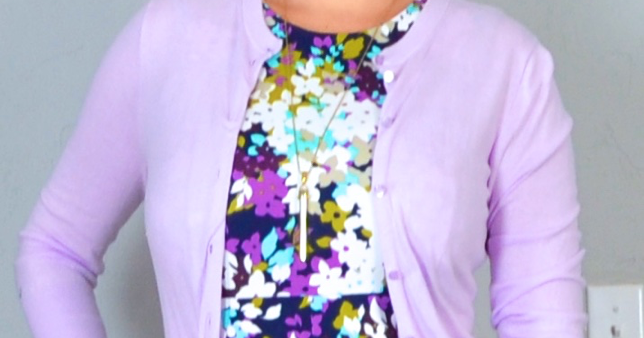 outfit post: purple floral sleeveless ponte dress, nude