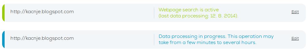 SecondEGO - Site search status