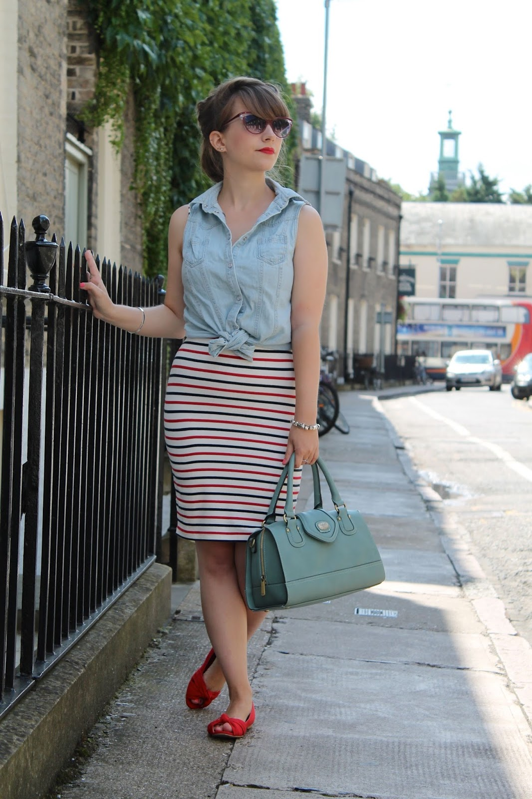 Stripe dress, denim tie shirt & 50s shades