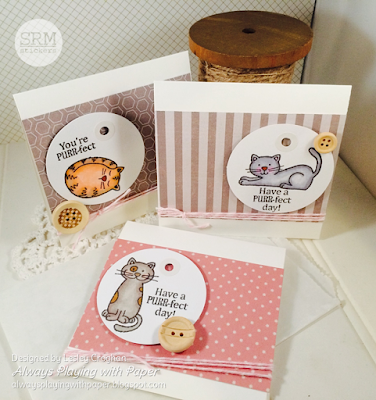 SRM Stickers Blog - Kitty Cards by Lesley - #cards #minicards #cardset #janesdoodles #acatslife #cats #kitties #twine