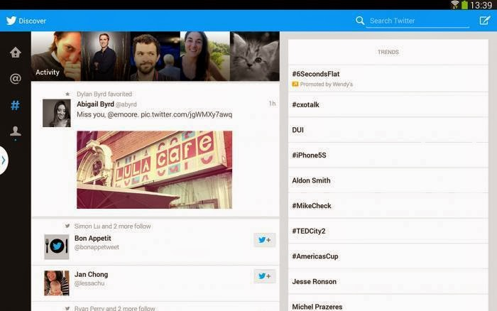 Twitter has unveiled a new version of its Android application, especially designed for tablets. It offers a revised and corrected design better advantage of the available space, especially in landscape mode. It is against relatively limited as it is formally proposed as one model: the Galaxy Note 10.1-2014 Edition. A strange situation when the APK to install it on any tablet or almost mop is on the web for over a month.