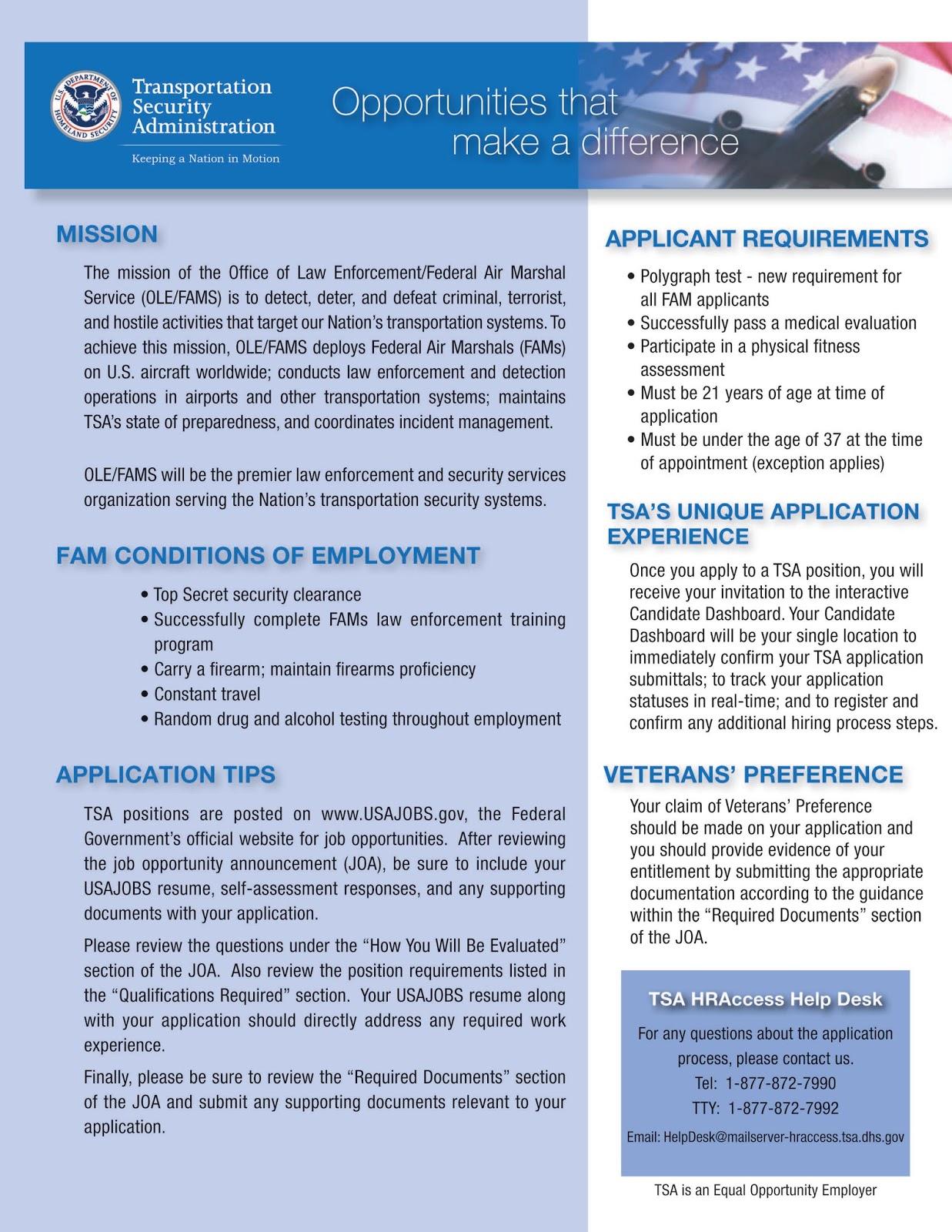 TSA Is Hiring Federal Air Marshals  Application Opens Jan 11
