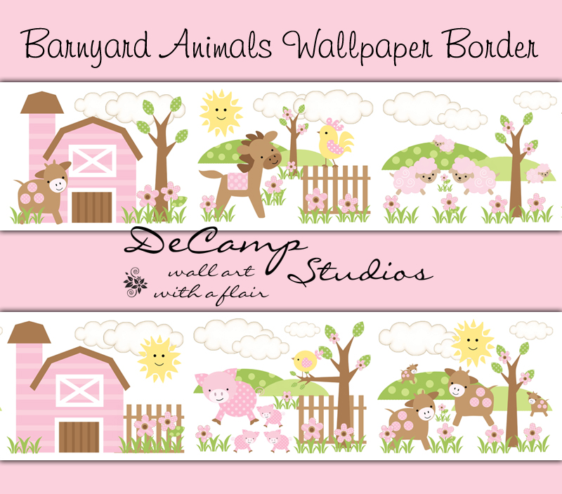 Pink Brown Barnyard Animals Wallpaper Border Wall Decals For Baby Girl Farm Nursery Or Childrens Room Decor