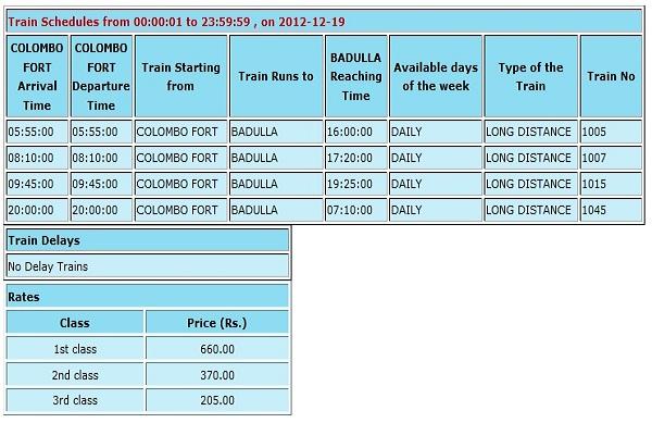 Train Time Table Colombo Fort To Badulla | Sri Lanka Railway ...