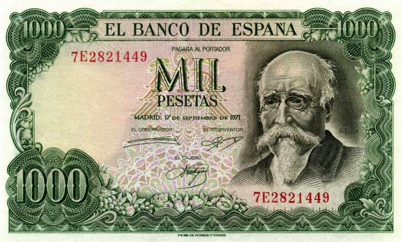 Billete de 1000 pesetas dedicado a José Echegaray