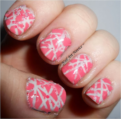 Tape nail art over Looney Laquer-Love A Lot