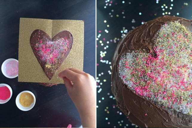Dress up a store-bought or box cake for Valentine's Day. | DIY Sprinkle Heart Cake Topper | Sweet Tooth