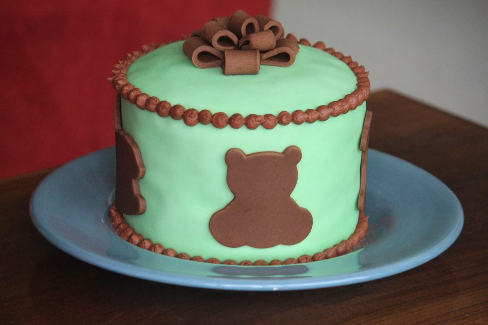 Fieldwork Travel And Food Teddy Bear Baby Shower Cake