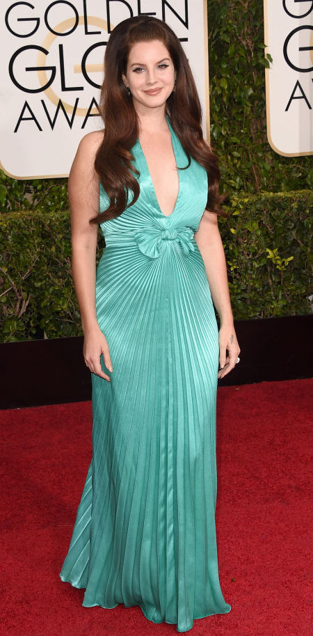 Lana Del Rey in a Versace gown at the Golden Globes 2015