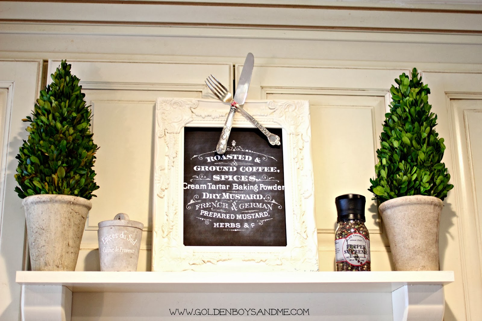 diy mantel shelf with preserved boxwood topiaries | www.goldenboysandme.com