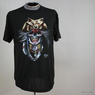Vtg SKULL Blood Sci Fi Warrior Truck Stop 3D EMBLEM t shirt LARGE 50/50 Soft