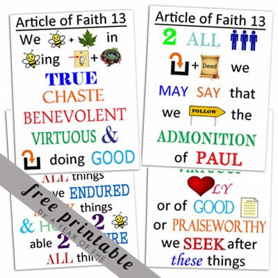 photograph regarding 13 Articles of Faith Printable called A Yr of FHE: Posting of Religion poster no. 13