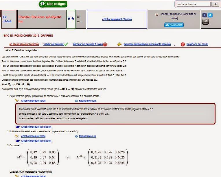corrigé spécialité BAC ES Pondichéry maths