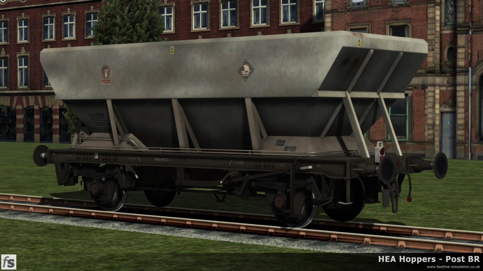 HEA Hoppers - Post BR: One of the later built HEA hoppers with the scars of having it's offset ladders removed in grimy Transrail livery and carrying a more modern tail lamp with reflective strip under development for Train Simulator 2014.