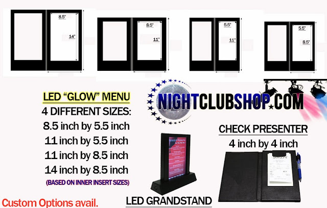 LED GLOW insert area inside, lights up when opened ,GLOW Illuminated Menus and check presenters -