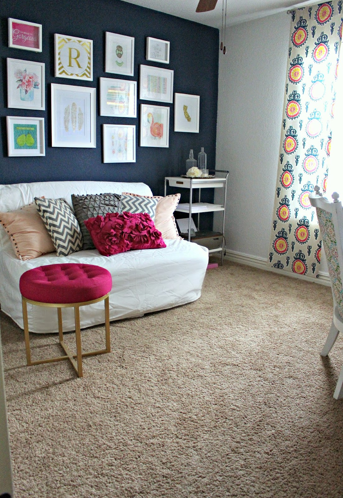 my girly officeguest room reveal - Modern Home Office Guest Room