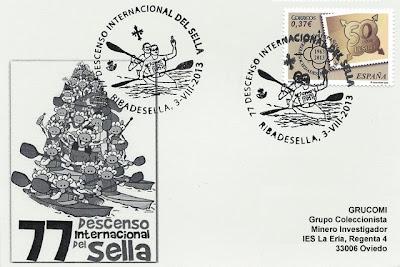Matasellos del 77 Descenso Internacional del Sella. Piraguas 2013