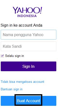Halaman awal pendaftaran email di yahoo