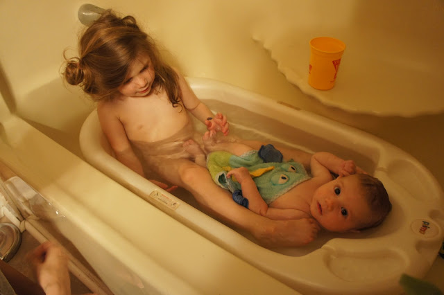 teen brother and sister in shower