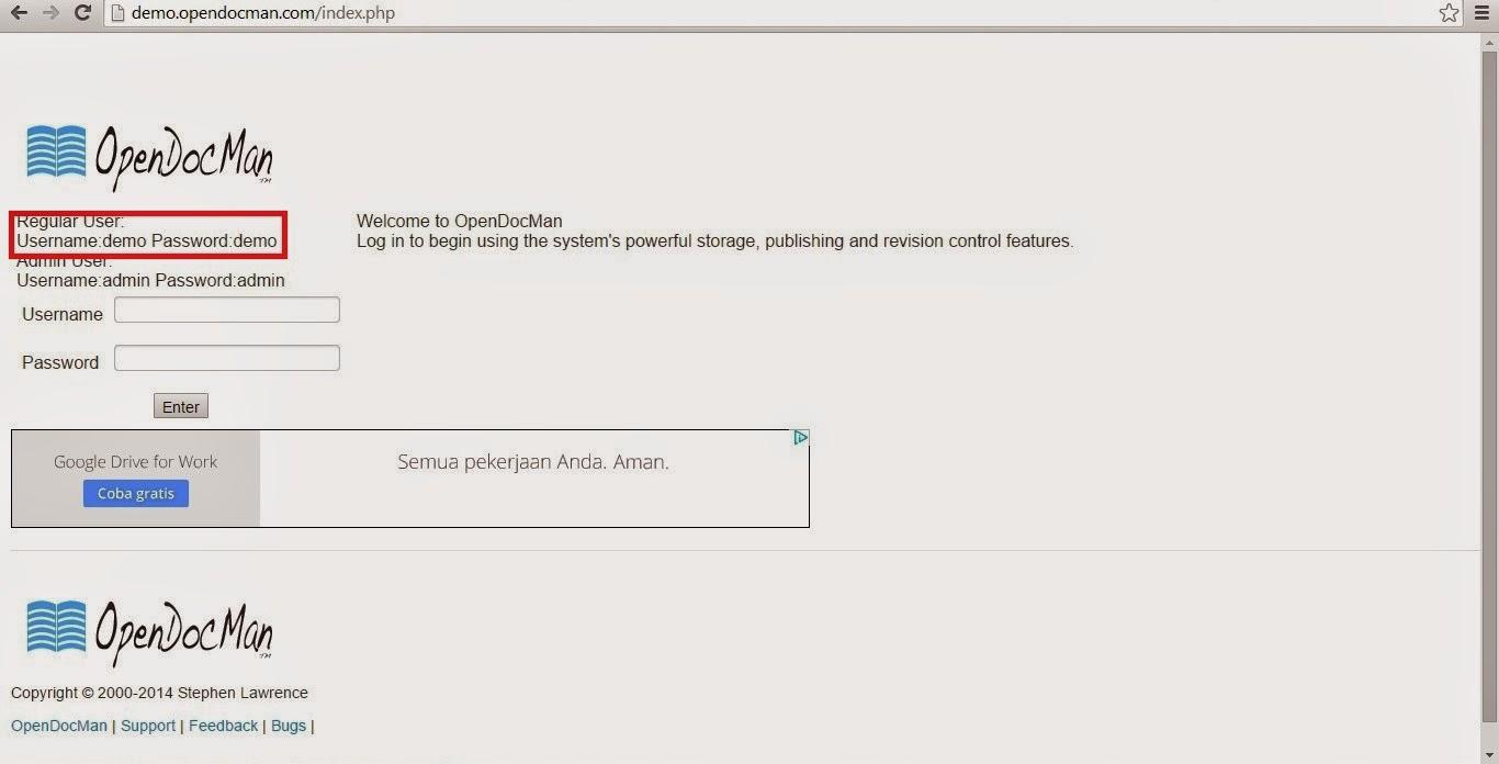 Printscreen demo penggunaan OpenDocMan