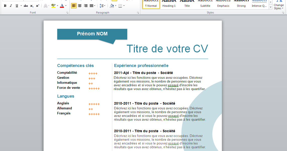 professional free resume word template 2015