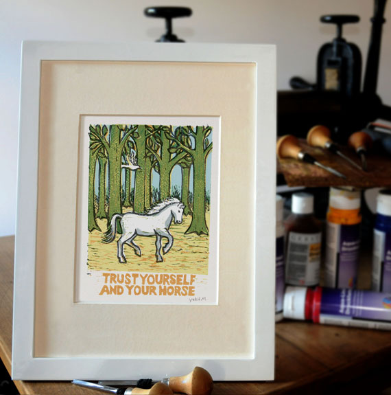 "card ""trust yourself and your horse"" by Yukié Matsushita"