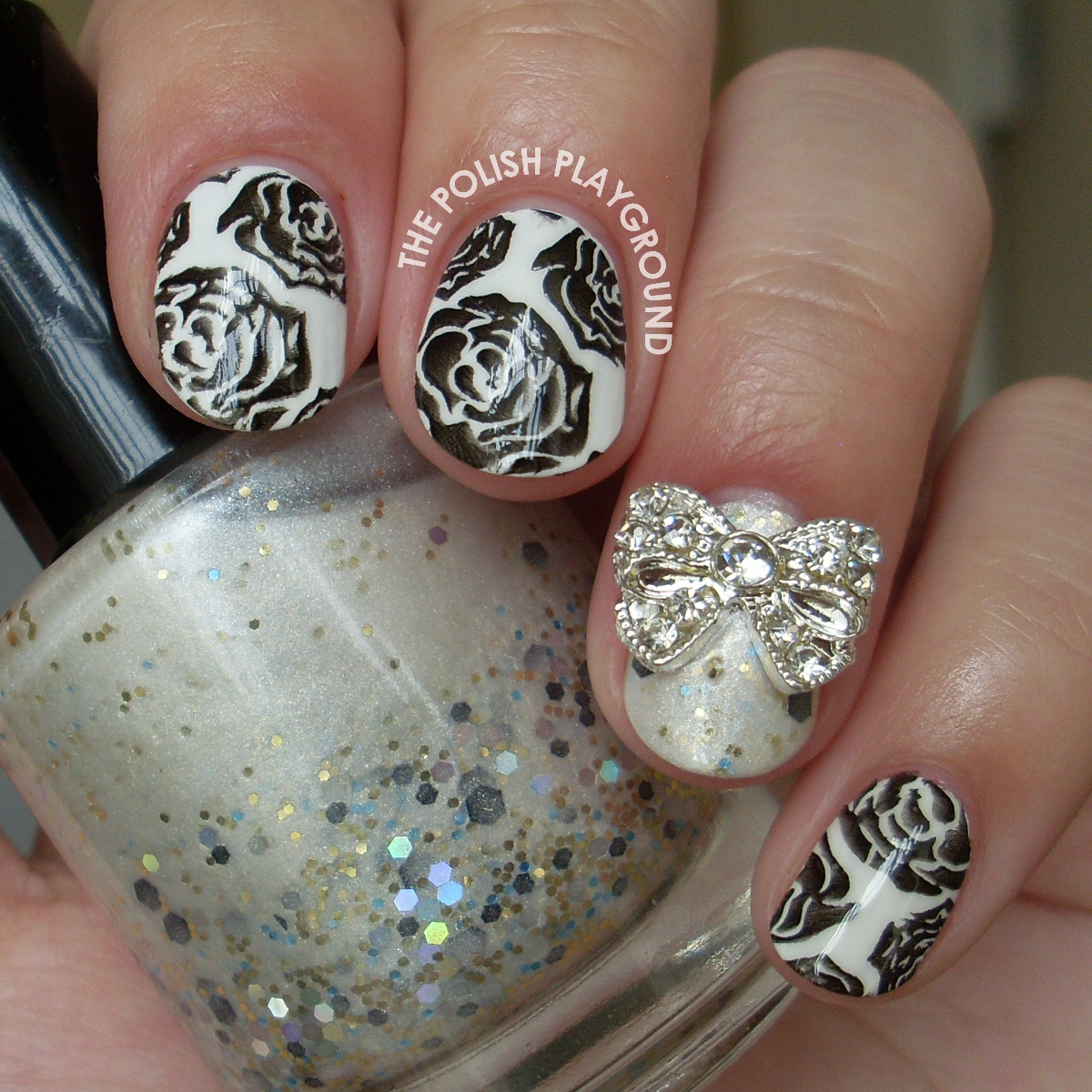 Blacken Roses Stamping Nail Art
