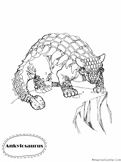 Gambar Mewarnai Dinosaurus Ankylosaurus