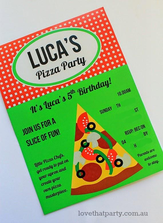 pizza party printabpe invitation red grenn yellow black checks gingham pizza slice pizzeria