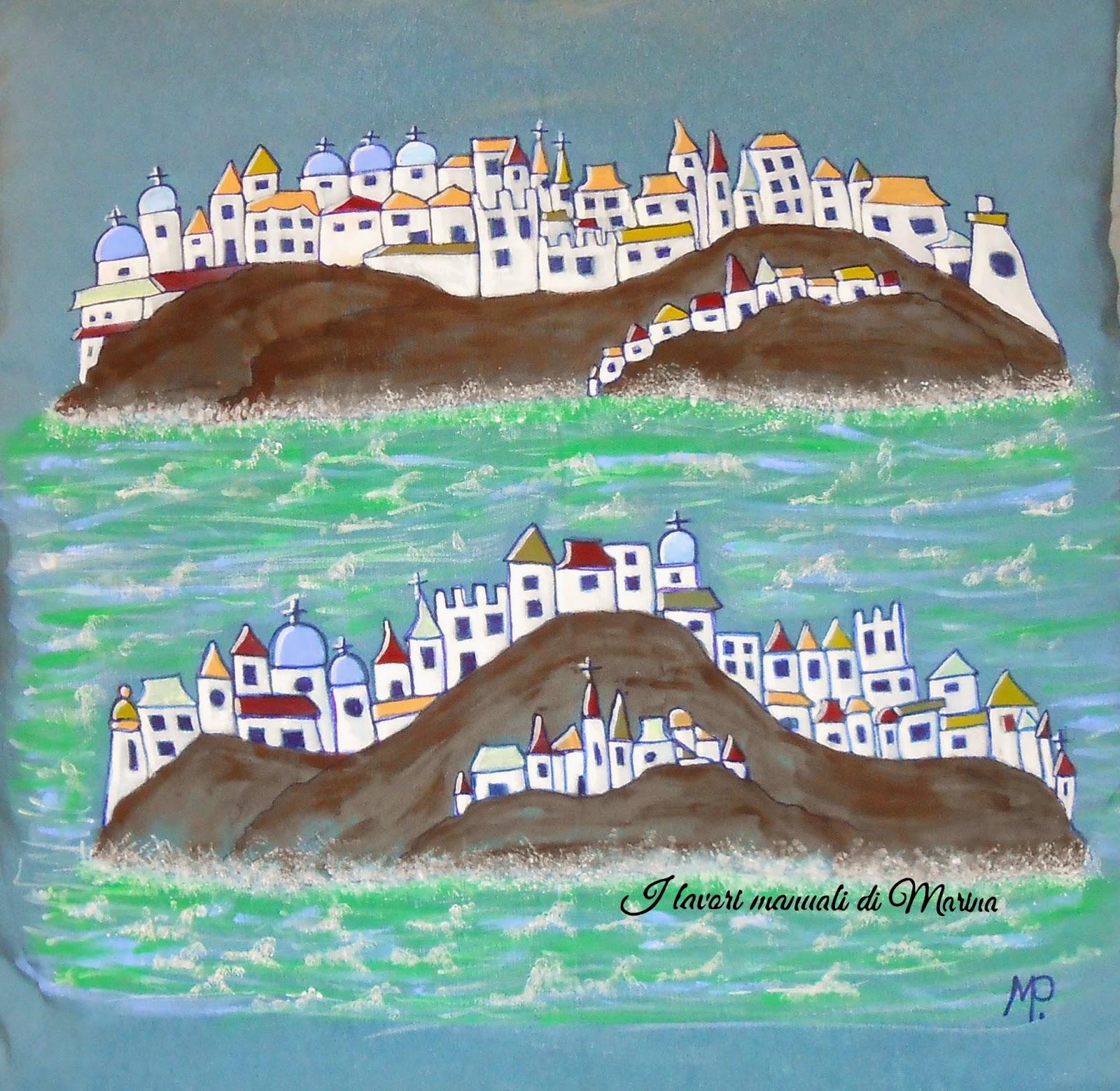 I lavori manuali di marina tre cuscini dipinti for Cuscini dipinti