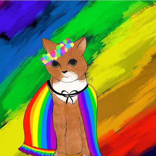 Eine Zeichnung von Mimi als Regenbogenkatze