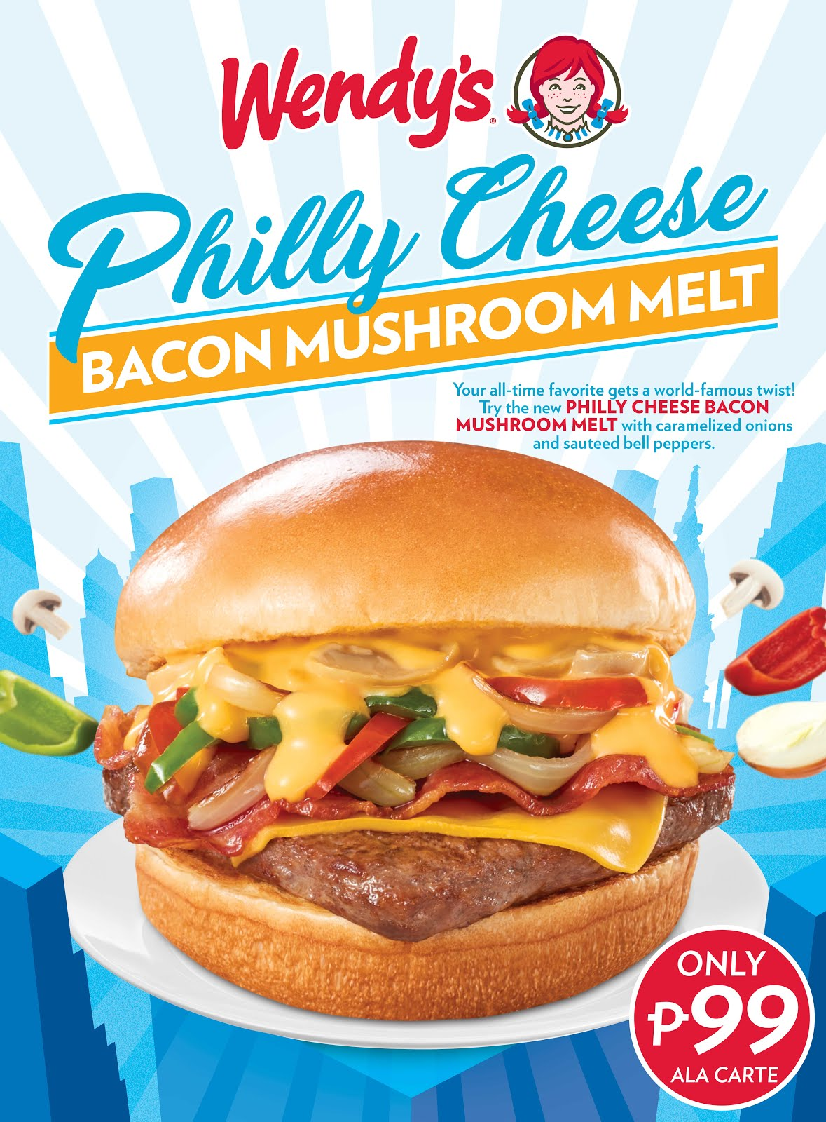 Wendy's Philly Cheese Bacon Mushroom Melt
