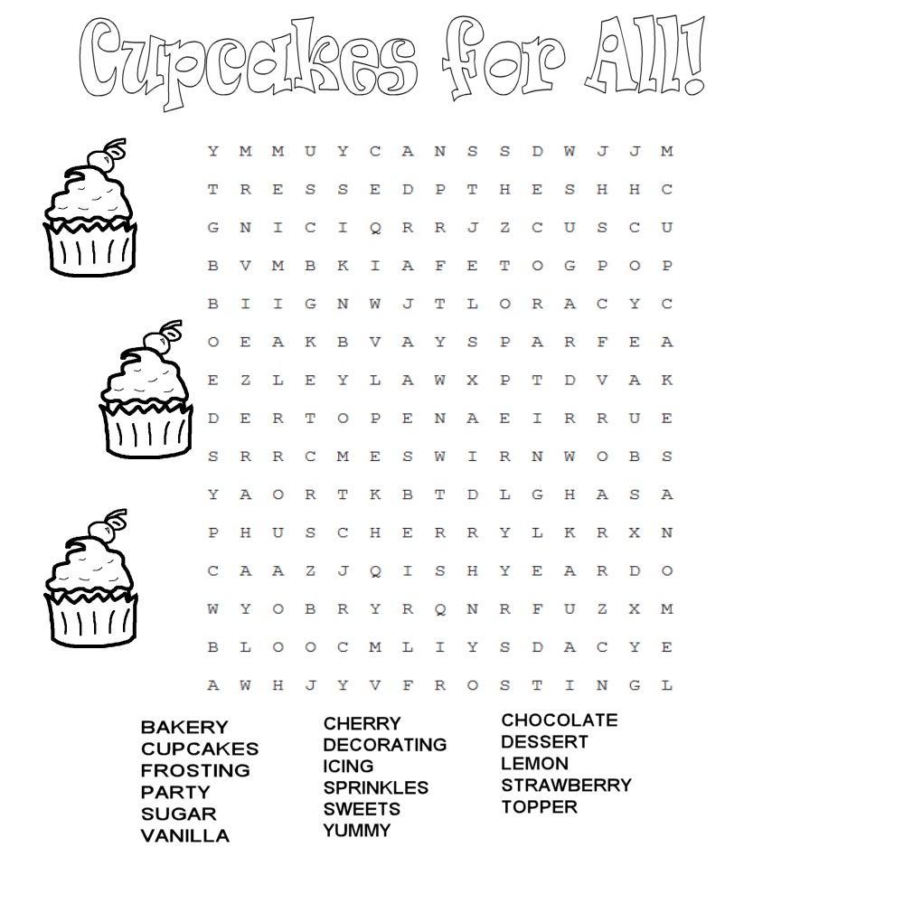 cupcake word search