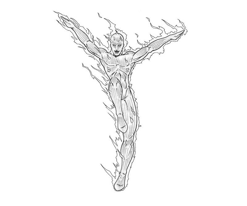 the human torch coloring pages - photo#14