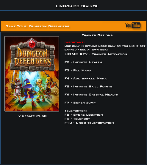 Dungeon Defenders v7.50 Trainer +8 [LinGon]