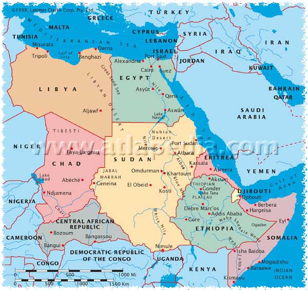 Map Of Egypt And Surrounding Countries - Map of egypt showing nile river
