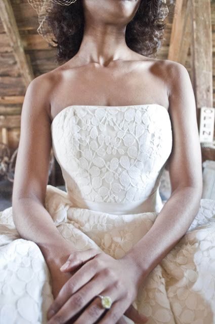 Vintage Rustic Farm Wedding Catskills shot by fine art wedding photographer Angela Cappetta strapless neckline