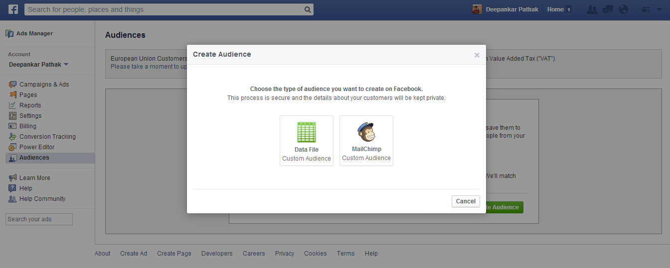 Facebook Audience tool