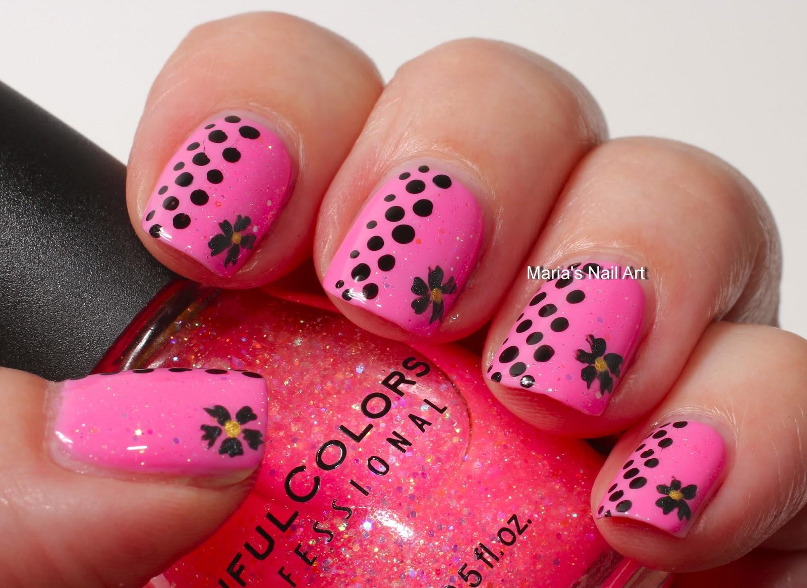 Marias Nail Art And Polish Blog Pink Glitter Dots The