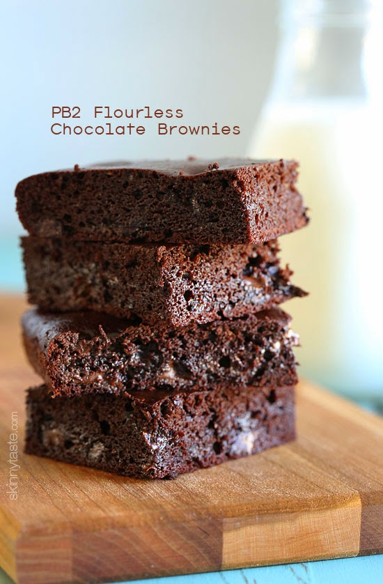 I replaced the flour with PB2 (powdered peanut butter). So moist, and no flour! Less than 135 calories each! #glutenfree