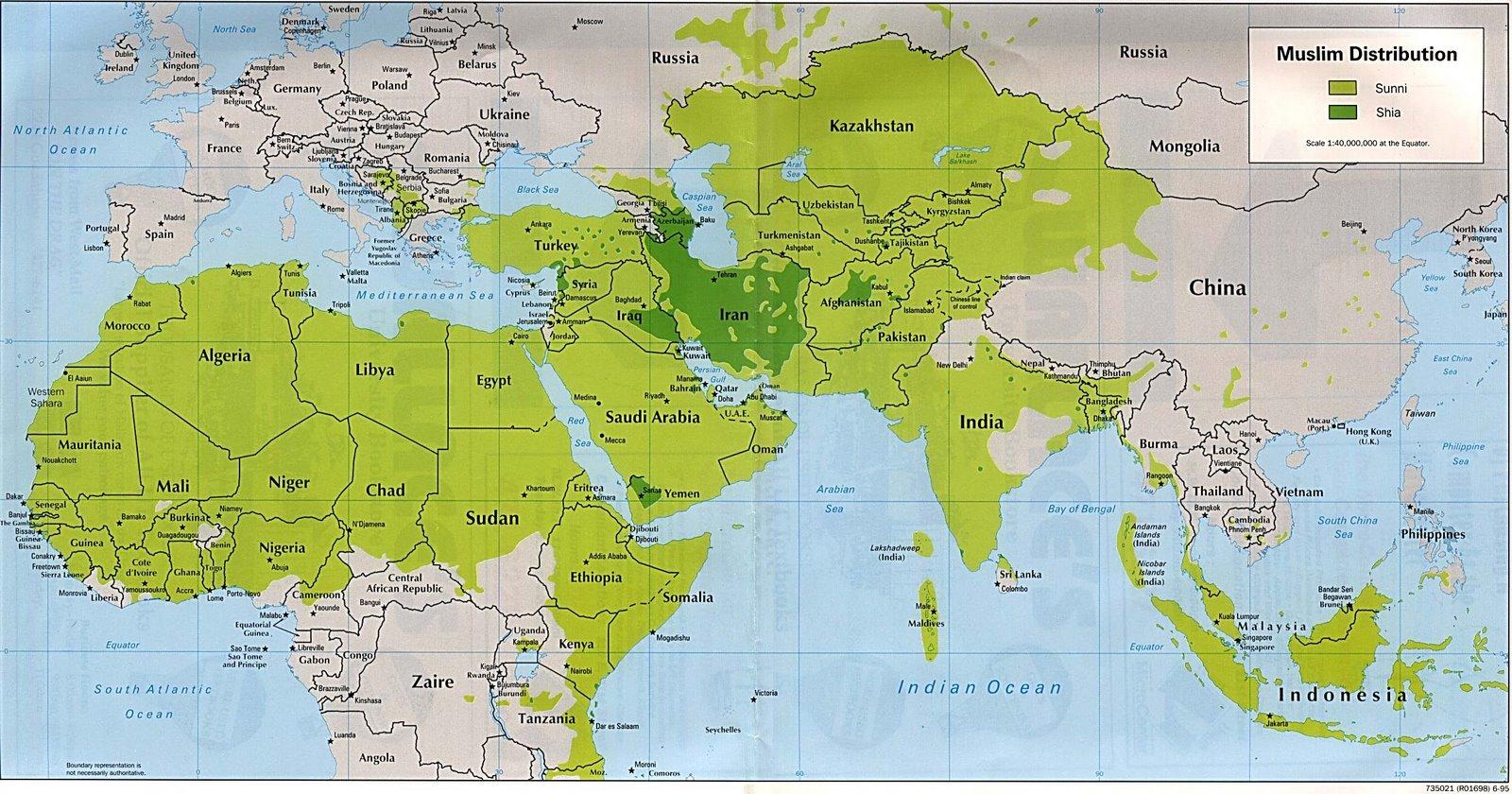 Warna hijau menunjukan negara umat islam di dunia ini
