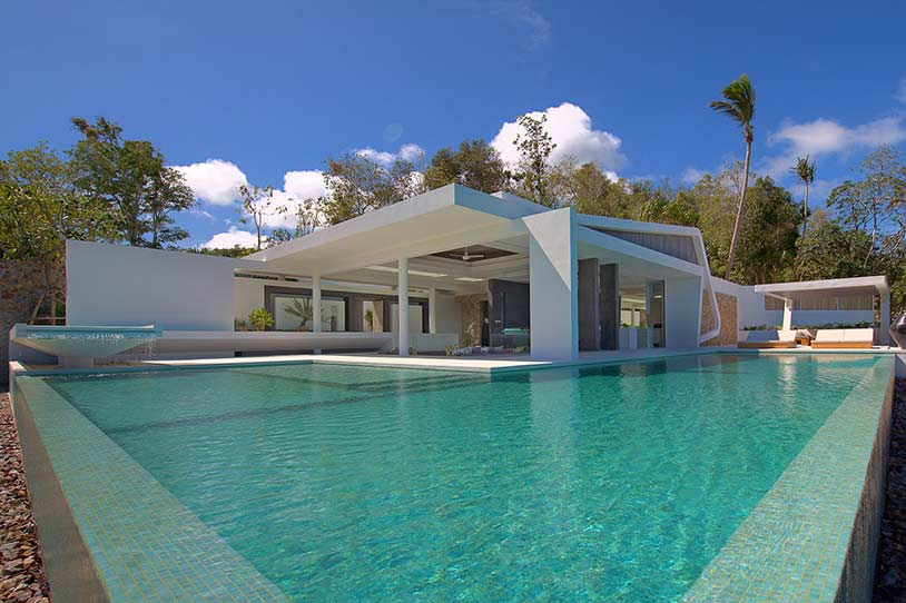 World of architecture hilltop modern villas amazing for Koi pool villa koh tao