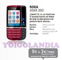 Nokia Asha 300 por 9 euros más pago a plazos Yoigo Febrero 2013