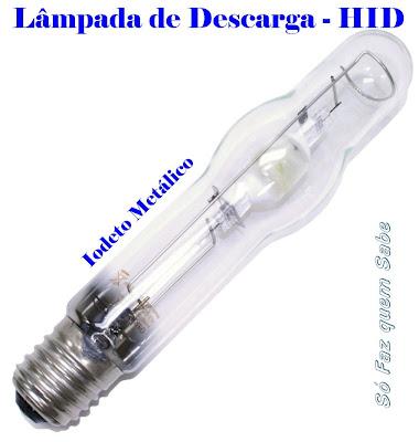 Lâmpada HID (descarga de alta intensidade) - vapor de mercúrio e sódio de alta pressão e iodetos metálicos.