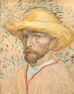 """Self-Portrait with Straw Hat"" by Vincent van Gogh, 1887"